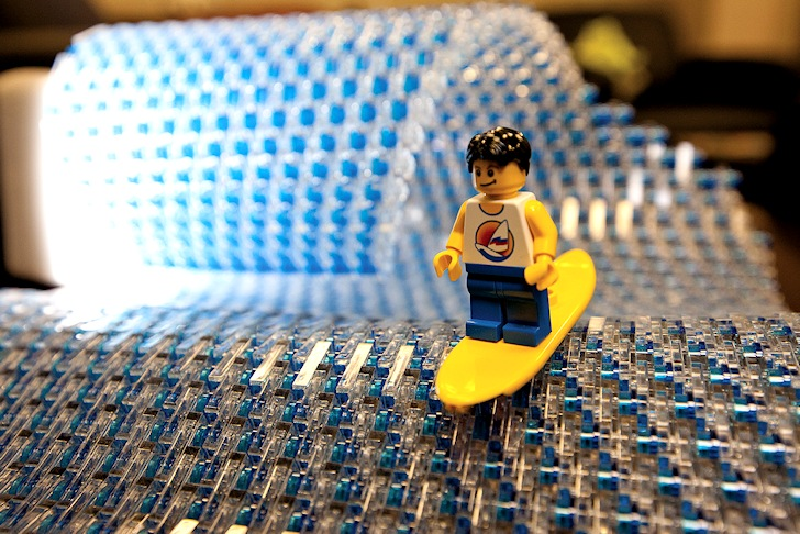 Surfing in Legoland: surfer misses the peak