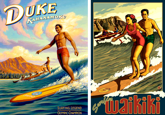 Surfing poster: promoting Hawaii with style and grace