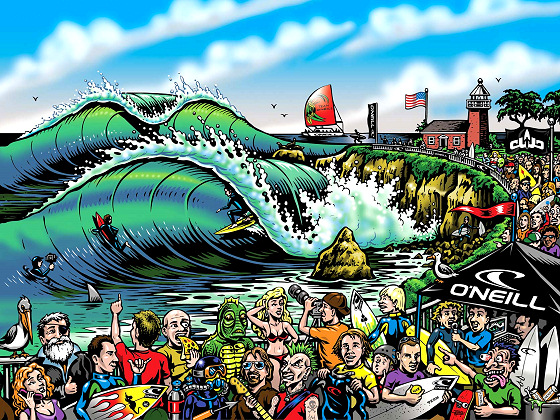 Surfing poster: Steamer Lane in cartoon mode