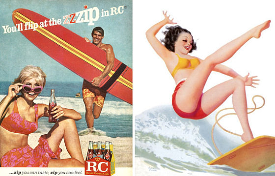 Surfing poster: surfer girls inside