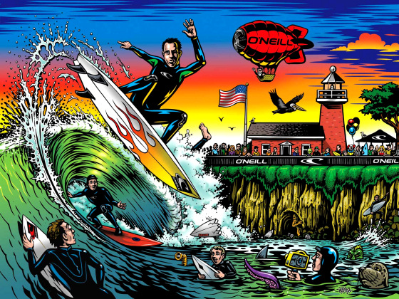 Surfing poster: Steamer Lane craziness