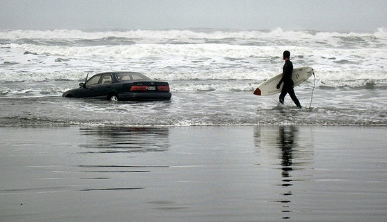 Surfing razzmatazz: when he parked the car, the tide was low