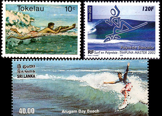Surfing Stamps: beginners riding waves in Tokelau