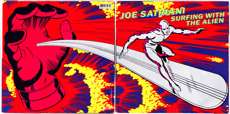 Surfing With The Alien: the front and back cover of Joe Satriani's 1987 album