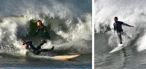 Surf kooks: nose diving stance
