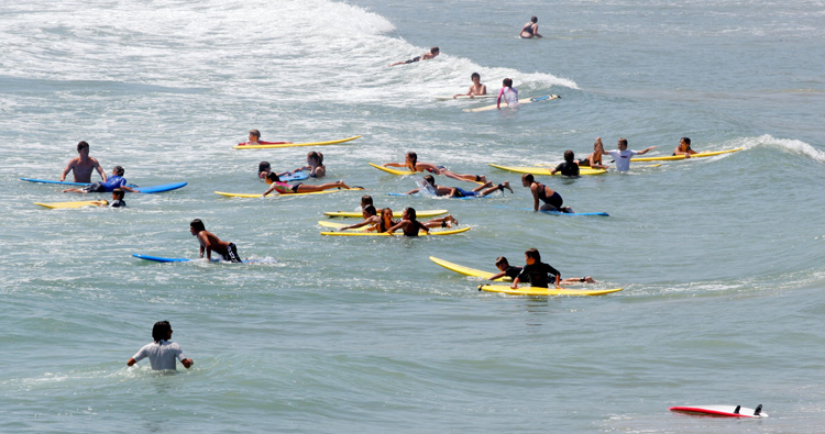 Surf lessons: a class should not have more the eight beginner surfers | Photo: Shutterstock