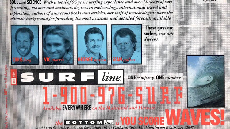 Surfline: one of the first ads featuring the dream team - Chris Borg, Vic Morris, George Mason, and Sean Collins