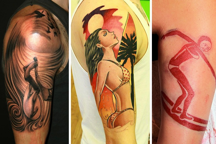 Surf tattoos: art and girls are quite common