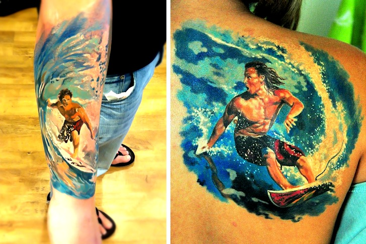 Surf tattoos: it took ages to imitate Claude Monet