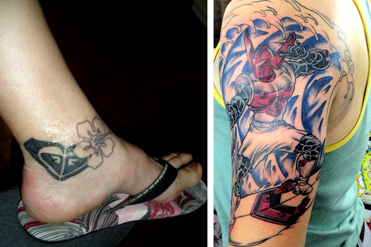 Surf tattoos: people love companies and superheroes