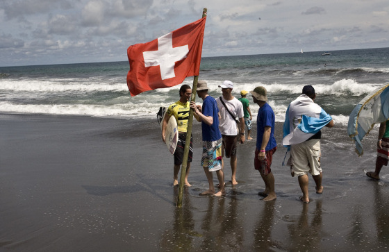 Swiss surfers: they always have to rent a beach