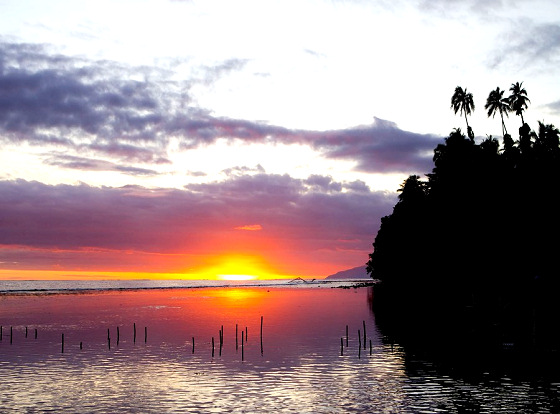 Tahiti: large sunset, small waves