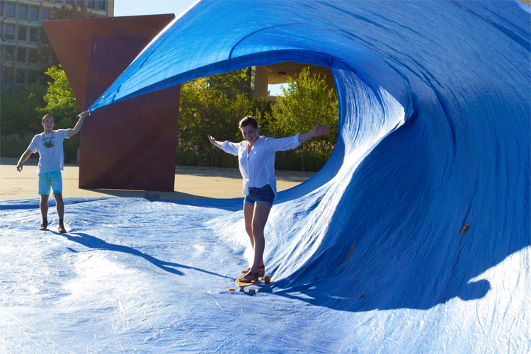 Tarp surfing: the coolest way of getting barreled inland | Photo: UMass Amherst Surf Club