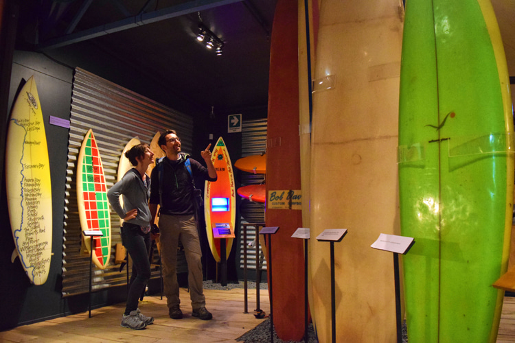 Tairawhiti Museum's Te Moana Maritime Gallery: the space features a collection of vintage surfboards | Photo: Tairawhiti Museum