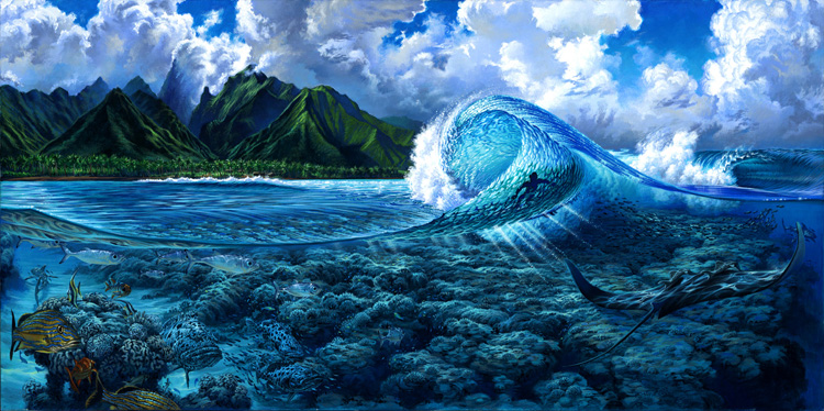 Teahupoo: the sharp coral reef helps transform big swells into mutant waves | Painting: Phil Roberts