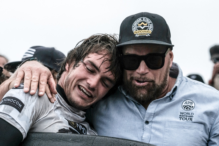 Terry McKenna (right): one of the most influential figures in the history of bodyboarding