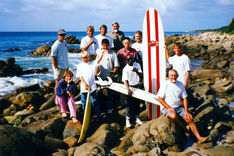 Cape St Francis, 1992: John 'The Oom' Whitmore with the 'The Endless Summer 2' crew and cast | Photo: Gary Haselau