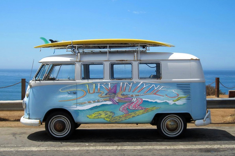 The SurfinTynes: the van seen inside the packaging of the band's debut album 'Surf Music For The 21st Century'