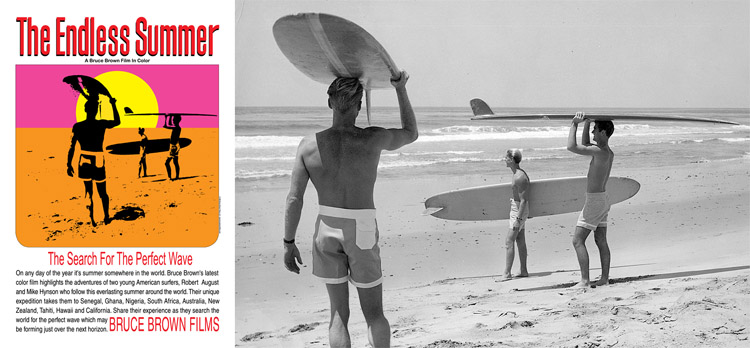 The Endless Summer: the original poster and the photo used by John Van Hamersveld to create the promo | Photo: Bruce Brown Films