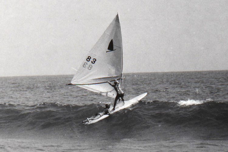 The Original Windsurfer: Tara Schweitzer and Lori Waltze sail away at Malibu Yacht Club, in 1971 | Photo: TheOriginalWindsurfer.com