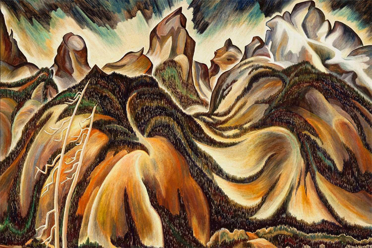 The Tetons - Wyoming (1933): an oil paint on canvas by Eve Drewelowe | Painting: Eve Drewelowe