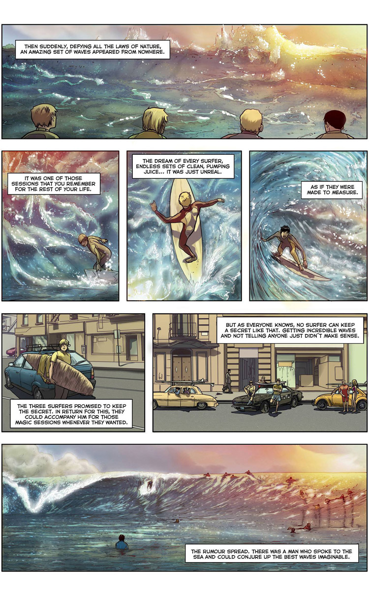 The Wave Conjurer (Page 3): a surf comic by Maxi González, Juan Martínez Alarcón, and Carlos Rios