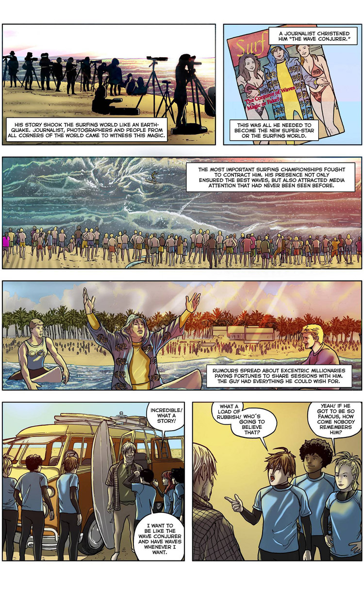 The Wave Conjurer (Page 4): a surf comic by Maxi González, Juan Martínez Alarcón, and Carlos Rios