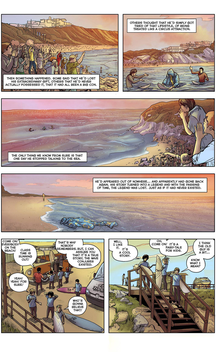 The Wave Conjurer (Page 5): a surf comic by Maxi González, Juan Martínez Alarcón, and Carlos Rios