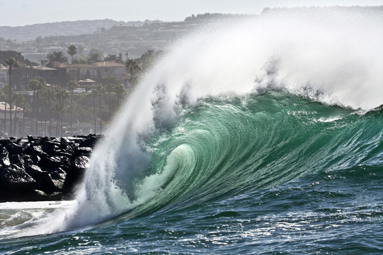 The Wedge: a freak rebound wave that breaks next to the Newport Beach Harbor Jetty | Photo: Shutterstock