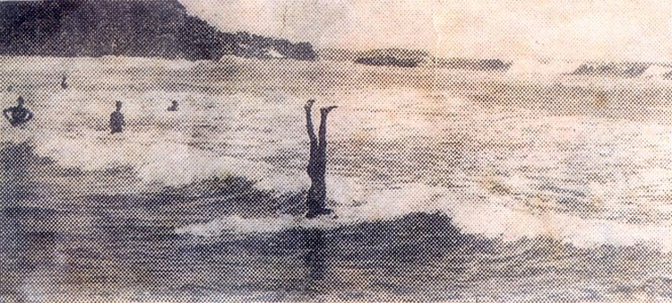 Tommy Walker: he performed a headstand on his heavy wooden surfboard in 1912