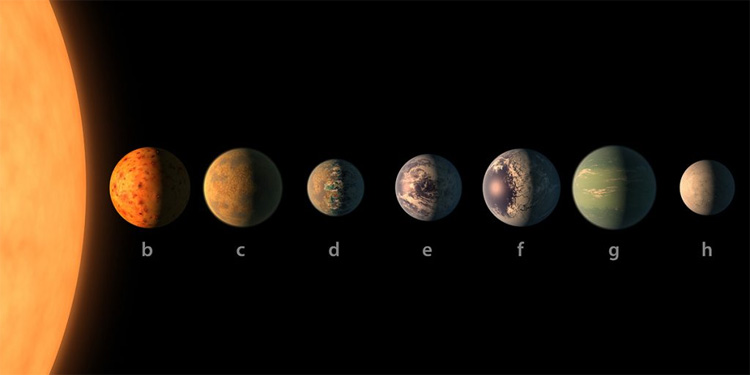 TRAPPIST-1: the ultra-cool dwarf and the seven rocky planets | Illustration: NASA