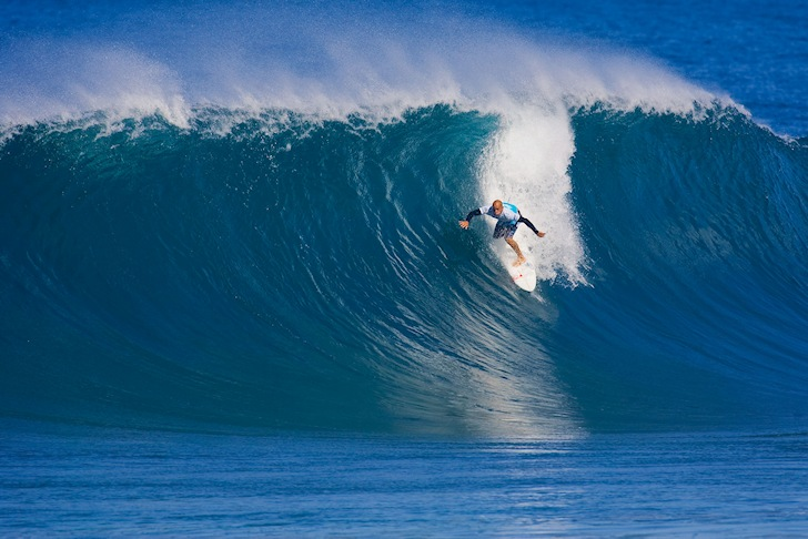 Triple Crown of Surfing: Kelly Slater negotiates a juicy barrel