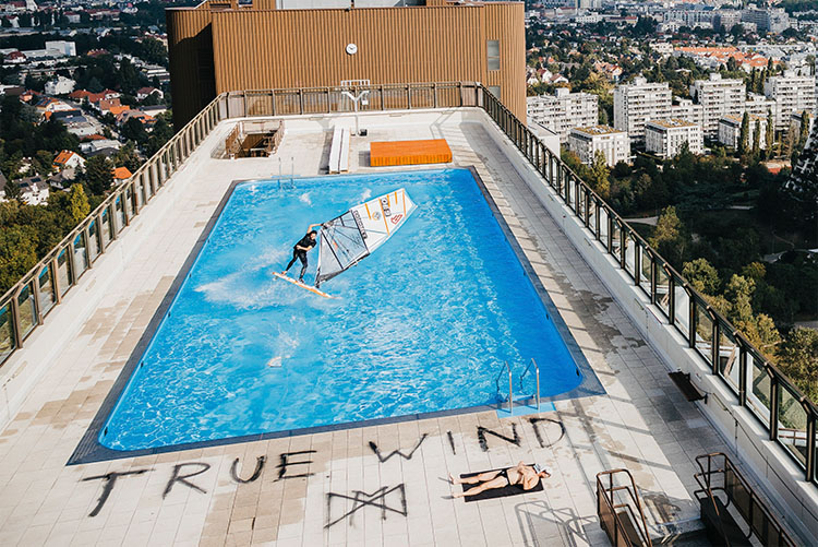 Max Matissek: windsurfing at Vienna's Alt Erlaa rooftop pool | Photo: Matissek