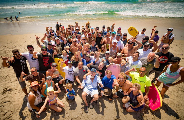 Tom Morey and friends: celebrating the 45th anniversary of the bodyboard at T-Street | Photo: Sean Loh