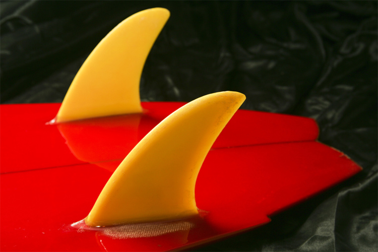 The Twin Fin Setup: two side fins attached to the surfboard