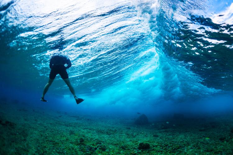 Underwater surf photographer: always wear a helmet   Photo: Shutterstock