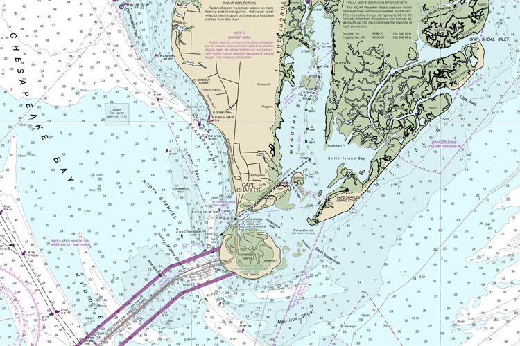 Nautical charts: charting a navigational route requires the use of a straight edge ruler and pencil at the same time | Chart: NOAA