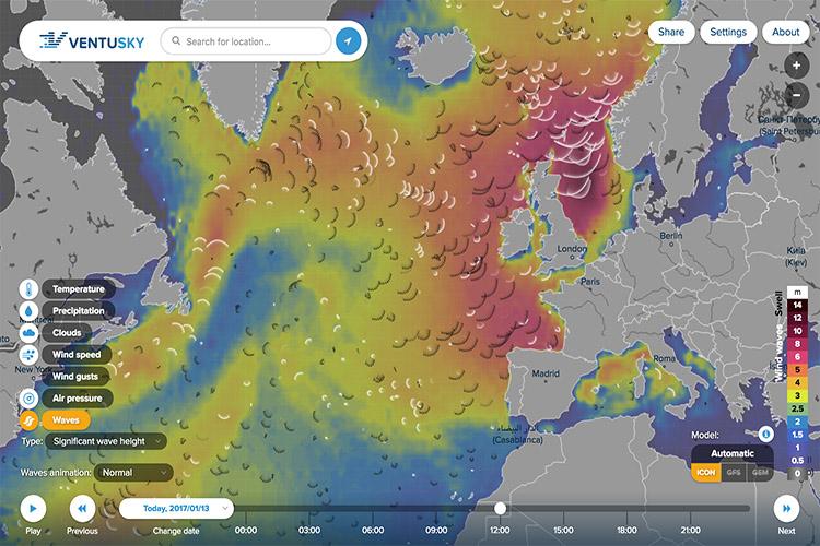 Ventusky: глобальная интерактивная карта погоды