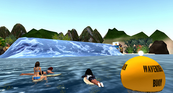 Virtual surfing: girls waiting for the swell