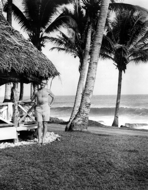 Walter Munk, 1963: tracking storm driven waves in Samoa | Photo: Scripps UCSD