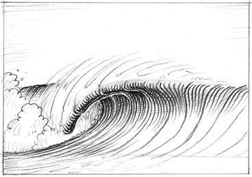 Shadow of the wave: draw small and gradually darker contour lines as they get closer into the tube and below the falling lip | Illustration Bob Penuelas