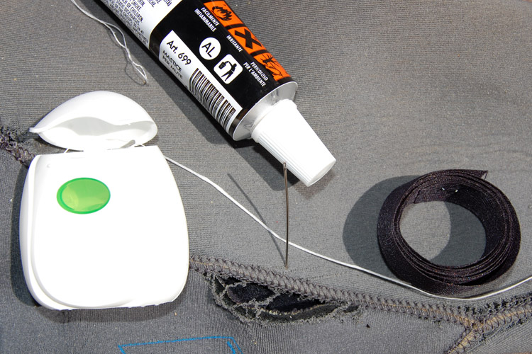 Wetsuit repair: you only need wetsuit cement, glue-on seam tape, floss and a needle | Photo: SurferToday.com