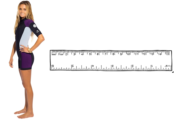 Wetsuit Size Chart: select a wetsuit that fits your height, weight and body measurements