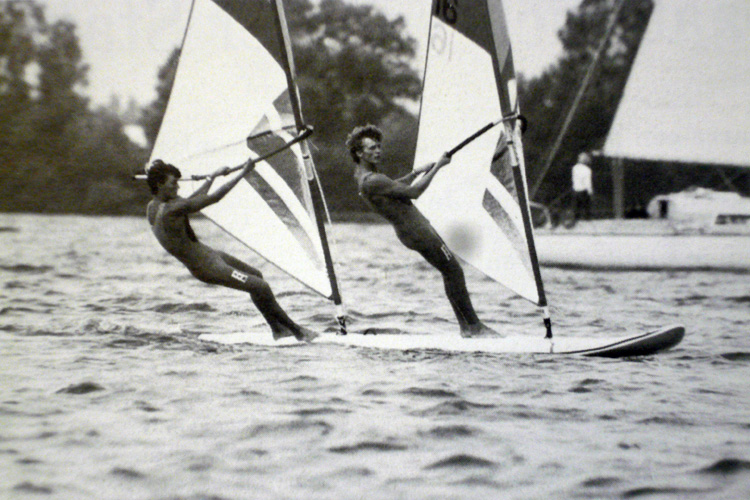 Windglider: Stephan van den Berg (left) won the gold medal at the 1984 Olympics