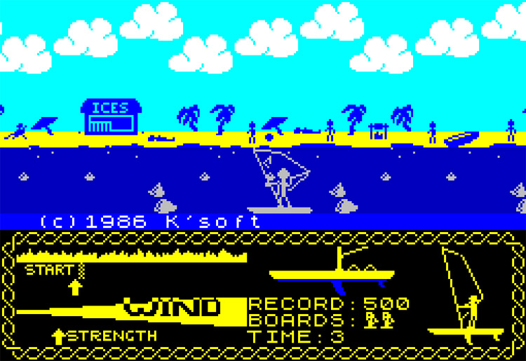 Wind Surfer: a windsurfing game in 48K mode