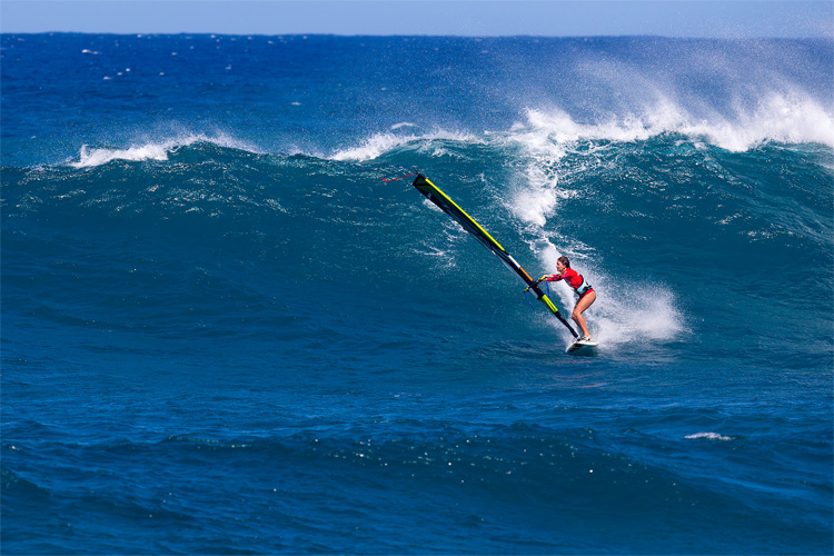 Wave sailing: catching a wave on a windsurfer requires intermediate sailing skills | Photo: Carter/PWA