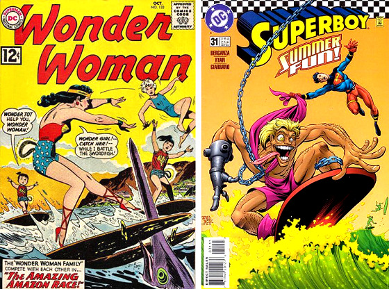 Surfing super heroes: a spearfish destroys Wonder Woman's favorite surfboard