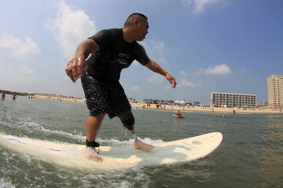 Wounded Warrior: better than many other surfers