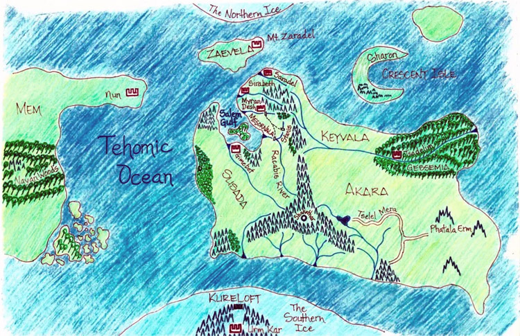 Map of Yophea: Gabriel Dantes created a fantasy world for his book | Illustration: Dantes