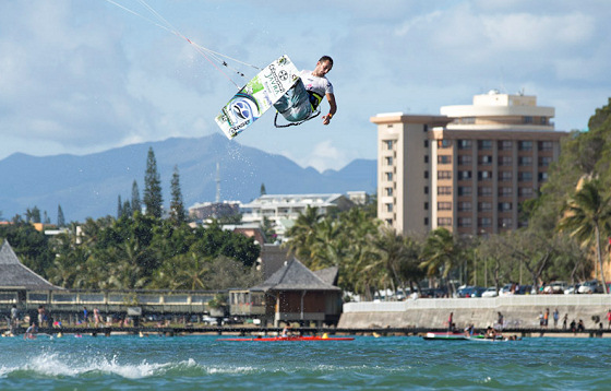 Kitesurfer Youri Zoon Jumps over an Island